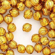 "7 Gold Fancy Ribbed Balls Blown Glass Beads .625"" ~ Czech Republic"