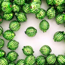 "7 Green Fancy Ribbed Balls Blown Glass Beads .625"" ~ Czech Republic"
