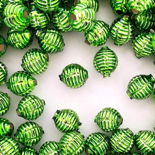 """7 Green Fancy Ribbed Balls Blown Glass Beads .625"""" ~ Czech Republic"""