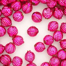 "7 Hot Pink Fancy Ribbed Balls Blown Glass Beads .625"" ~ Czech Republic"