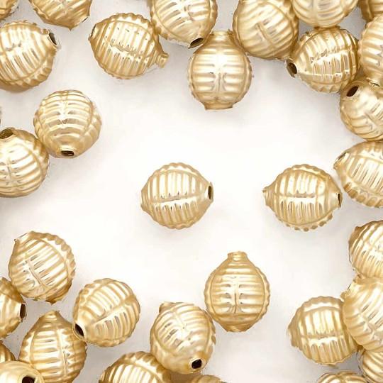 "7 Matte Champagne Fancy Ribbed Balls Blown Glass Beads .625"" ~ Czech Republic"