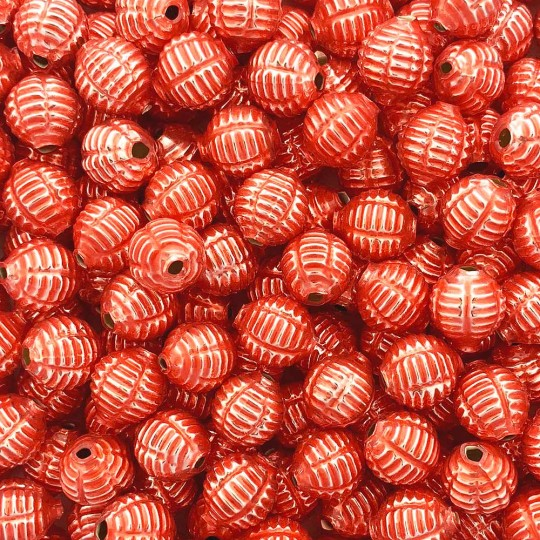 "7 Pearl Coral Fancy Ribbed Balls Blown Glass Beads .625"" ~ Czech Republic"