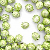 "7 Pearl Green Fancy Ribbed Balls Blown Glass Beads .625"" ~ Czech Republic"