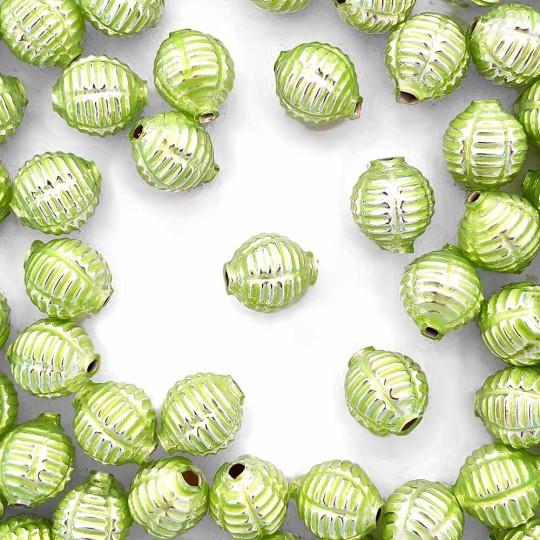 "7 Pearl Green Fancy Ribbed Balls Blown Glass Beads .625"" ~ Czech Republic"