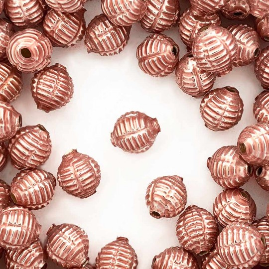 "7 Pearl Rose Pink Fancy Ribbed Balls Blown Glass Beads .625"" ~ Czech Republic"