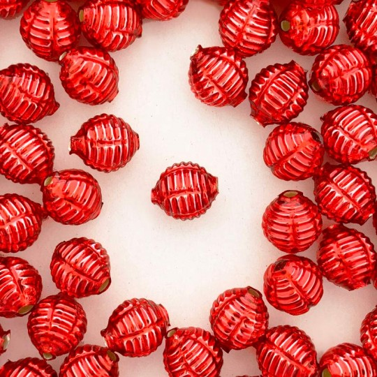 "7 Red Fancy Ribbed Balls Blown Glass Beads .625"" ~ Czech Republic"