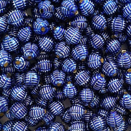 """7 Blue Fancy Ribbed Balls Blown Glass Beads .625"""" ~ Czech Republic"""