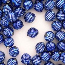 "7 Blue Fancy Ribbed Balls Blown Glass Beads .625"" ~ Czech Republic"