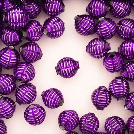 "7 Purple Fancy Ribbed Balls Blown Glass Beads .625"" ~ Czech Republic"