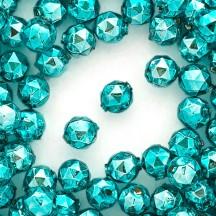 8 Aqua Faceted Ball Blown Glass Beads 13mm ~ Czech Republic