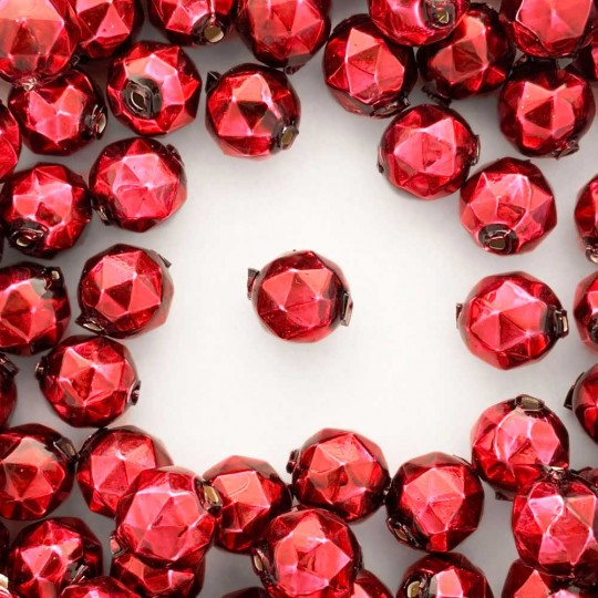 8 Burgundy Faceted Ball Blown Glass Beads 13mm ~ Czech Republic