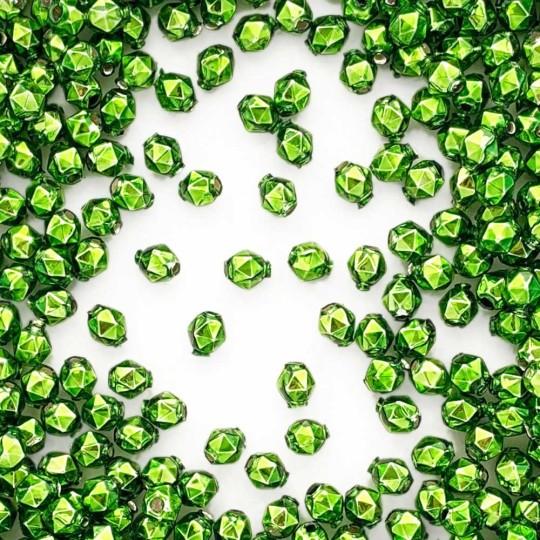 15 Green Faceted Ball Blown Glass Beads 8mm ~ Czech Republic