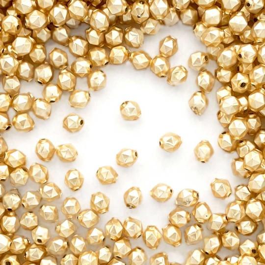 15 Matte Champagne Faceted Ball Blown Glass Beads 8mm ~ Czech Republic