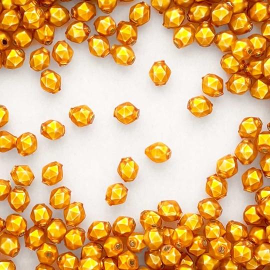 15 Matte Goldenrod Faceted Ball Blown Glass Beads 8mm ~ Czech Republic