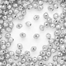 15 Silver Faceted Ball Blown Glass Beads 8mm ~ Czech Republic
