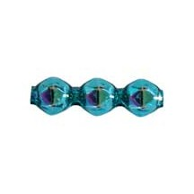 10 Aqua Faceted 3-Bump Blown Glass Beads 8mm ~ Czech Republic