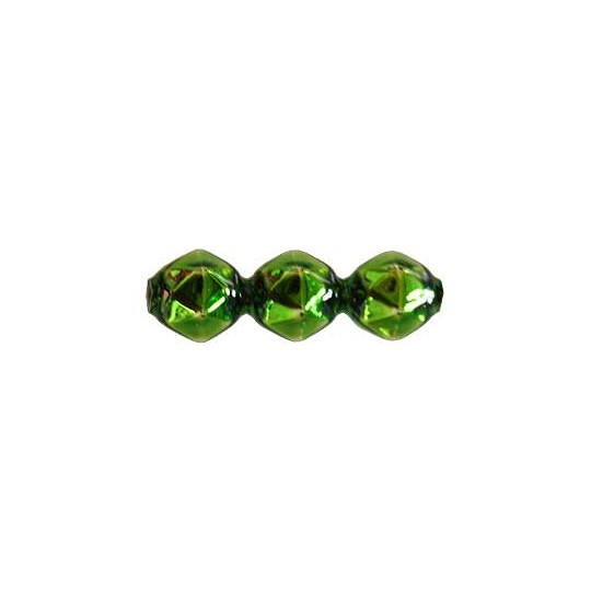 10 Green Faceted 3-Bump Blown Glass Beads 8mm ~ Czech Republic