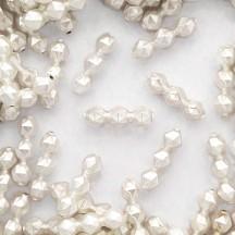 10 Matte White Faceted 3-Bump Blown Glass Beads 8mm ~ Czech Republic