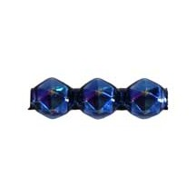 10 Blue Faceted 3-Bump Blown Glass Beads 8mm ~ Czech Republic
