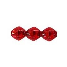 10 Red Faceted 3-Bump Blown Glass Beads 8mm ~ Czech Republic