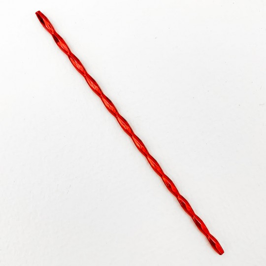 3 Blown Glass Red Barleycorn Bead Sticks for Making Beaded Christmas Ornaments~ 9mm x 3.5mm Bumps