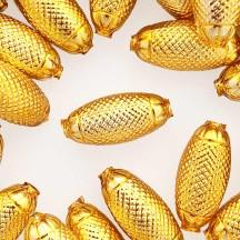 """2 Gold XL Fancy Oblong Glass Garland Beads 1-1/2"""" ~ Czech Republic"""