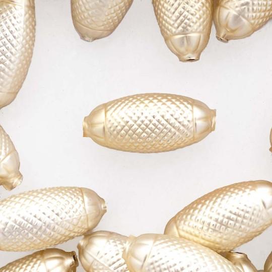 """2 Matte Champagne XL Fancy Oblong Glass Garland Beads 1-1/2"""" ~ Czech Republic"""