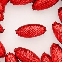 """2 Red XL Fancy Oblong Glass Garland Beads 1-1/2"""" ~ Czech Republic"""