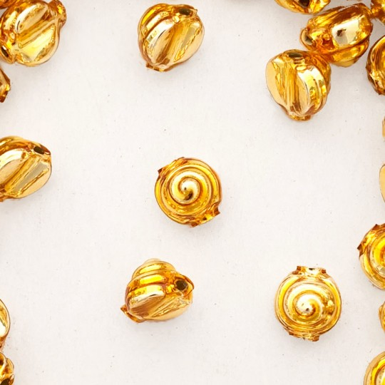 10 Gold Tiny Spiral or Shell Glass Beads 8mm ~ Czech Republic