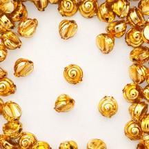 10 Gold Tiny Spiral or Shell Glass Beads 8mm ~ Czech Republic