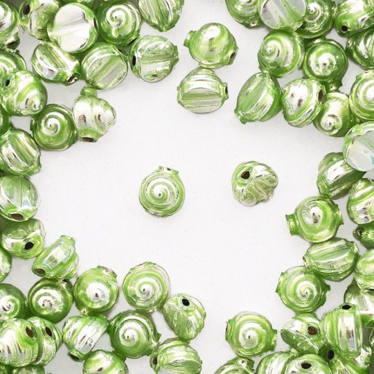 10 Pearl Green Tiny Spiral or Shell Glass Beads 8mm ~ Czech Republic