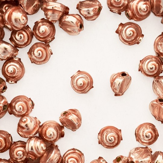 10 Pearl Rose Pink Tiny Spiral or Shell Glass Beads 8mm ~ Czech Republic