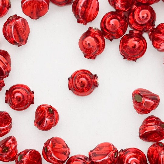 10 Red Tiny Spiral or Shell Glass Beads 8mm ~ Czech Republic