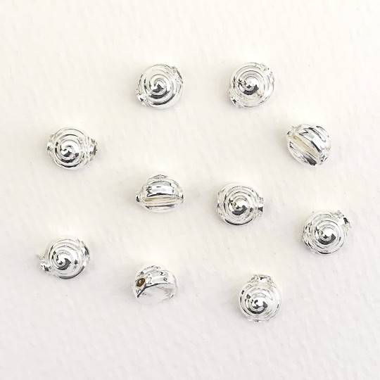 10 Silver Tiny Spiral or Shell Glass Beads 8mm ~ Czech Republic