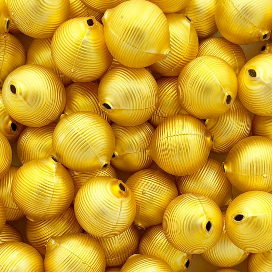 "3 Matte Yellow Large Striped Round Beads 1"" ~ 24 mm ~ Czech Republic"