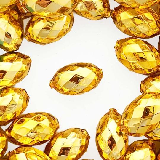 """2 Gold XL Faceted Glass Garland Beads 1-3/8"""" ~ Czech Republic"""