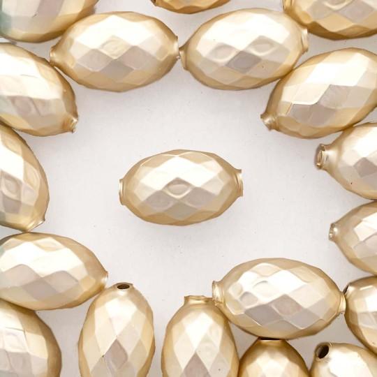 """2 Matte Champagne XL Faceted Glass Garland Beads 1-3/8"""" ~ Czech Republic"""
