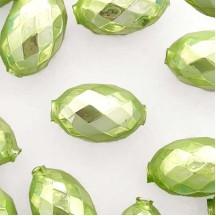 """2 Pearl Green XL Faceted Glass Garland Beads 1-3/8"""" ~ Czech Republic"""