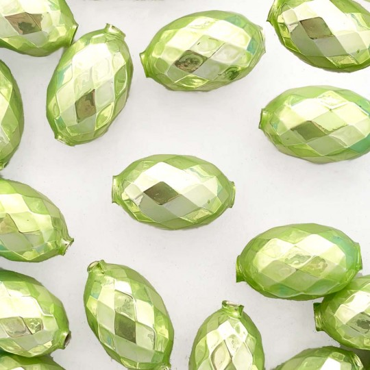 "2 Pearl Green XL Faceted Glass Garland Beads 1-3/8"" ~ Czech Republic"