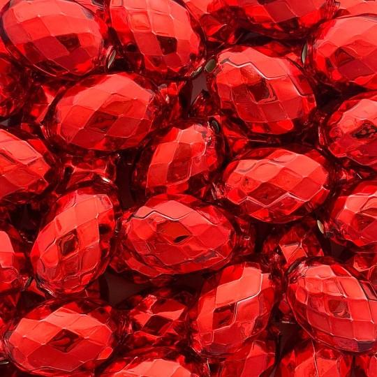 """2 Red XL Faceted Glass Garland Beads 1-3/8"""" ~ Czech Republic"""