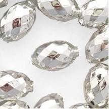 """2 Silver XL Faceted Glass Garland Beads 1-3/8"""" ~ Czech Republic"""