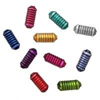 10 Mixed Color Ribbed Cylinder Glass Beads 16mm ~ Czech Republic
