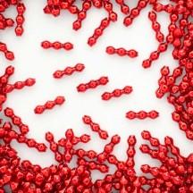 24 Red Blown Glass Faceted 3 Bump Tube Beads 5 mm ~ Czech Republic