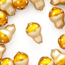 """3 Blown Glass Matte Goldenrod Mushroom Beads 1-1/8"""" ~ Czech Republic"""