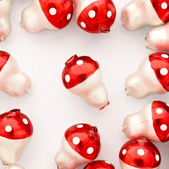 """3 Blown Glass Red Mushroom Beads 1-1/8"""" ~ Czech Republic"""