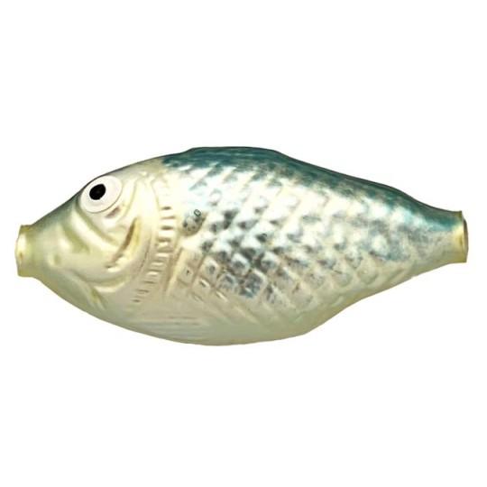 "1 Large Matte Blue and Pale Yellow Fish Bead 2-3/4"" ~ Czech Republic"