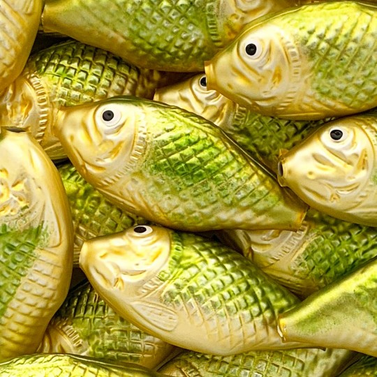 "1 Large Matte Gold and Green Fish Bead 2-3/4"" ~ Czech Republic"