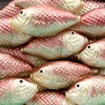 "1 Large Matte Pink and Pale Green Fish Bead 2-3/4"" ~ Czech Republic"