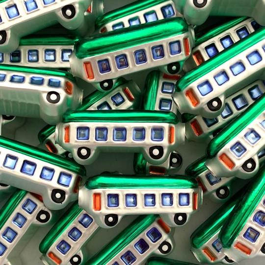 "1 Large Green Train Car Glass Garland Bead 2"" long ~ Czech Republic"