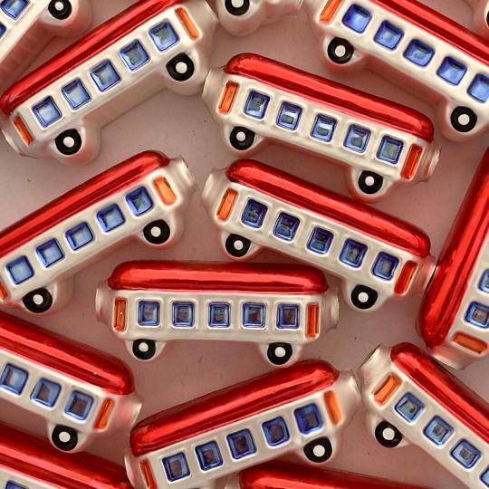 "1 Large Red Train Car Glass Garland Bead 2"" long ~ Czech Republic"